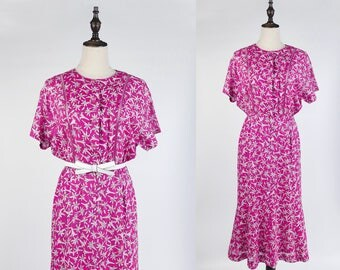 Vintage Dress, TrueVintage Dress, Vintage Japanese Dress, White Flower Print Short Sleeves Pink Fuchsia Women Dress Size S-M