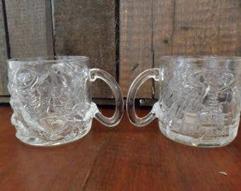 Vintage Glass Mugs~1995 McDonald's Batman Forever Mugs~The Riddler Mugs~Pair