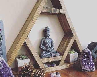 Altar shelf, THE ORIGINAL DESIGNER, chcakra, Triangle shelf, display shelf, crystal shelf, gems, crystals, wood pyramid, amythist, geode, cr