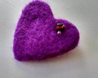 Magenta needle felted heart brooch