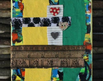 Yellow and Green Fabric Collage
