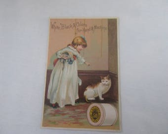 ANTIQUE J & P Coats Best Six Cord Thread  Advertising Victorian Trade Card  Little Girl WW/Kitten