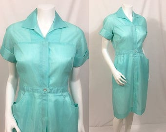 20% Off Summer Sale 1950s Pennys Dacron Wash-n-Wear Dress, Vintage shirtwaist dress, Nurses Uniform