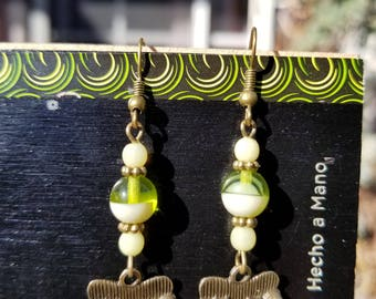 Couch Tour, Dangle Earrings, Green, Green Glass, Antique Bronze, Sofa