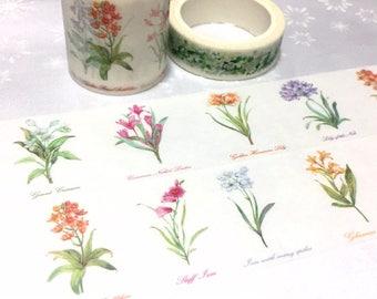 Classic flower Washi tape 7M x 4cm pretty wild flower Vibrant flower EXTRA WIDE Masking tape flower drawing sticker tape flower decor gift