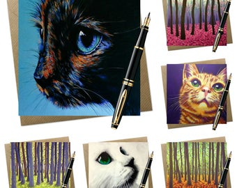 6 pack of assorted greeting cards | trees & cats