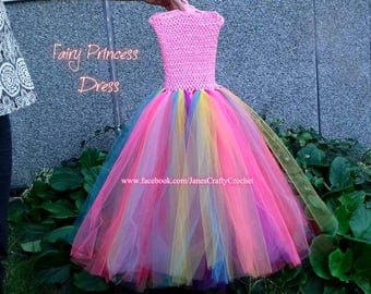 Handmade tutu dress, flower girl dress , Fairy princess dress