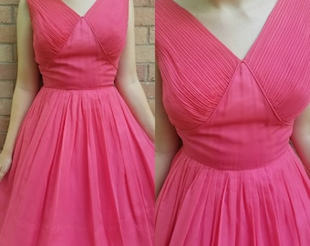 Vintage 1950s dress extra small small pink 1950s fit and flare Dior New Look Mad Men chiffon party dress women's clothing