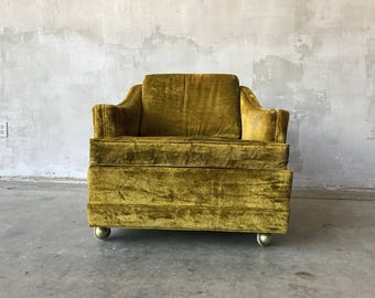 Kroehler Gold Green Velvet Chair