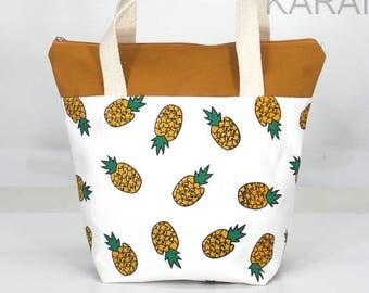 10% OFF [ Orig. 19.99 ]  Pineapple Lunch bag, Waterproof tote, Canvas Lunch bag, Reusable Lunch bag, Handmade bag, Tote, Gift