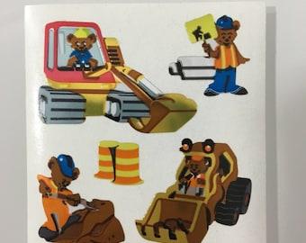 Vintage Sandylion Construction Bear Stickers