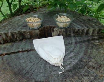 Organic Cotton  Milk Bag, Nut Milk Bag, Reusable  Nut Milk Bag, Vegan Milk Bag, Fabric Milk Bag, Vegan Raw Food, Zero Waste Nut Milk Bag
