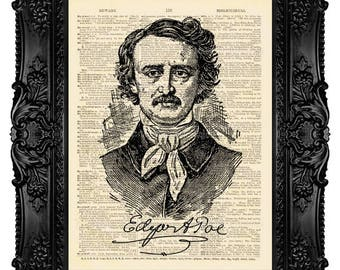 Edgar Allan Poe, Edgar Poe Print, Edgar Poe Art Print, Digital Prints, Gothic Home Decor, Art Print Vintage, Wall Art, Book Lover Gift no.35