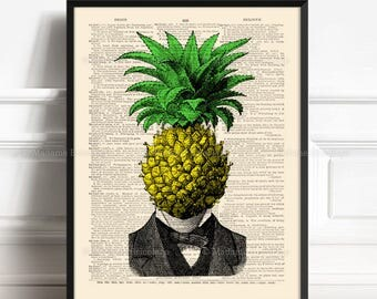 Cool Pineapple, Funny Boyfriend Gift, Unique Gift Poster, Cabinet Curiositè, Kitchen Staircase, Coworker Gift Print, Surreal Boy Gift 474