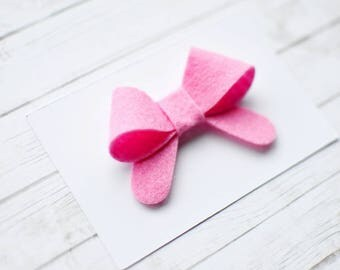 Pink hair clip for girl || bow snap clip for baby || felt hair clip for infant || baby bow hair clip || toddler hair clips || baby snap clip