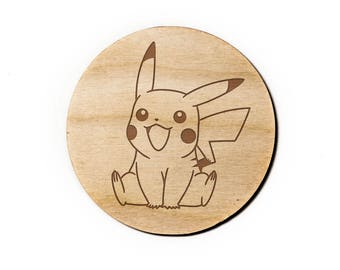 Pikachu Engraved Birch Coasters