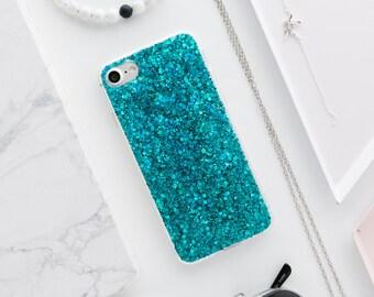 Blue Gel Glitter iPhone Case - iPhone 7 Case, iPhone 7 Plus Case, iPhone 6s Case, iPhone 6s Plus Case, iPhone 6 Case, iPhone 6 Plus Case, SS