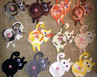 Peek-A-Booty Cat Coasters/Kit 'n Kabooty Cat Coasters/Kitty Keester Koasters/Funny Cat Coasters/Custom Crochet Coasters/Furniture Protectors