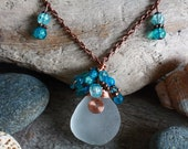 Irish Sea Glass Necklace, Sea Glass Jewelry, Wire Wrapped, Turquoise, Beaded Pendant, Celtic Pendant, Copper Necklace, Mermaid Necklace