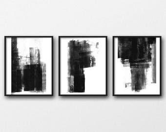 Black & White Scandinavian Prints, Set of 3 Prints, Modern Urban Art, Urban Wall Art Prints, Black and White Wall Art, Abstract Minimalist
