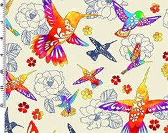 Flight of Colors Cream from Kona Bay Out of Print Bright Hummingbird quilting cotton asian fabric colourful red orange