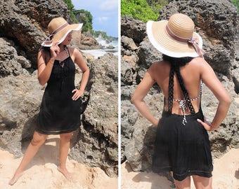 Short Dress, Mini Dress, Beach Wear, Cover Up, Black Dress, Crochet Dress