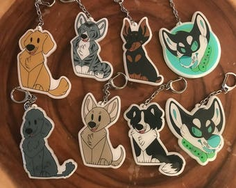 Plush Pup series 2 and hypno dog keychains