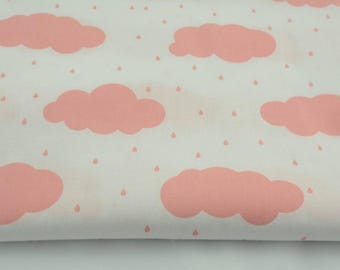 Fabric 100% cotton half a metre (50 x 160 cm), clouds of coral 100% cotton and fabric of rain drops