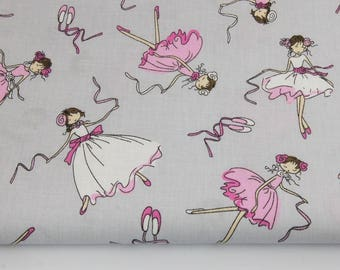 100% cotton fabric printed coupon pink dancers, ballerinas on a grey background 160 x 50 cm.