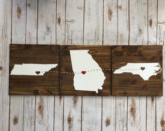 Wedding gift wooden sign Housewarming Gift gold hearts Moving away Valentine's easter countries brother sister connecting 3 states