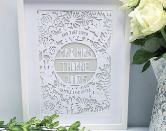 Framed Wedding Papercut Gift Present Personalised Handmade