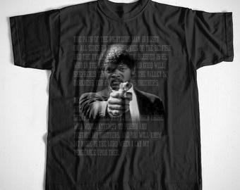 T-Shirt Ezekiel S-4XL Schwarz Kult Pulp Fiction Tarantino Quentin Samuel Jackson