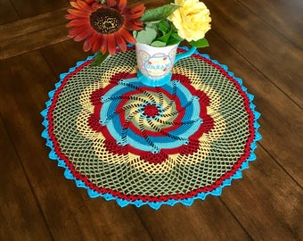 Farmhouse Style Pinwheel Doily - Lace Doily - Multicolored Crochet Doily - Pineapple Doily - Rustic Decor - Housewarming Gift - Round Doily