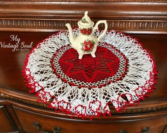Ruffled Christmas Doily - Red and White Doily - Pineapple Crochet Doily - French Country Decor - Handmade Doily -Vintage-Style