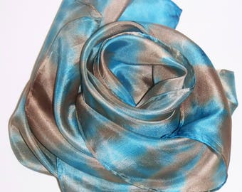 "handpainted Silkscarf ""Shibori in blue and brown"", square, small, Nicki, silk, one of a kind, wearable art, unique, handpainted"