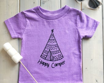 Happy Camper Toddler Shirt, Kids  Shirt, Kids Fashion, Camping Baby Shirt, Toddler Camping Shirt, Happy Camper Kids Shirts