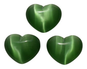Lot of 3 Puffy Heart Green Fiber Optic Cats Eye Glass Pocket Sized Hand Carved