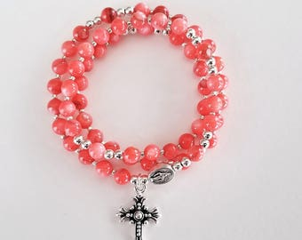 Coral Shell Stretch Rosary Bracelet