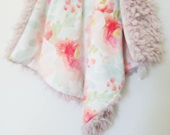 Blush Watercolor Floral Lovey, Minky Lovey, Floral Blanket, Baby Girl Lovey, Modern Baby Blanket, Floral Minky Blanket, Baby Girl Blanket