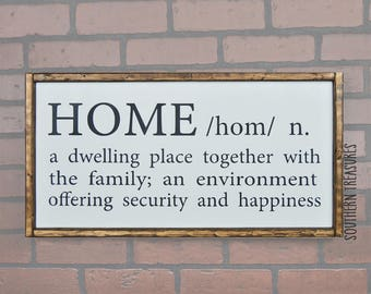 Home Definition Framed Farmhouse Style Wood Sign