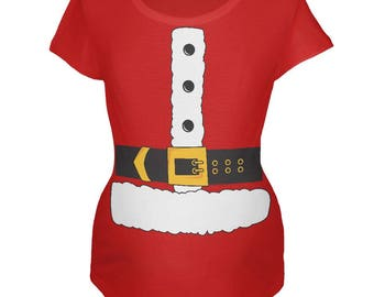Christmas Santa Claus Costume Red Maternity Soft T-Shirt