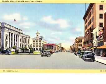 Mid Century Santa Rosa CA Linen Postcard Fourth 4th Street Vintage Cars Unposted California Travel Souvenir
