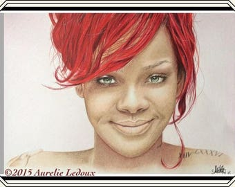 colored pencil portrait of Rihanna