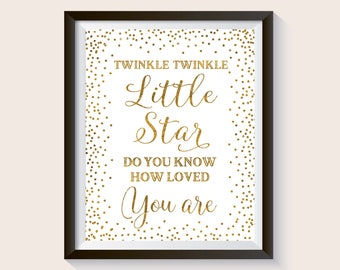 Twinkle twinkle little star, Baby Shower Sign, Gold Confetti Baby Birthday Decor, Kid's Party Decoration, Nursery decor, Kids room wall art