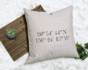 GPS Coordinate Pillow - Coordinates Decor - Latitude Wedding Longitude Pillow Latitude Engagement - Honeymoon Memento - New Farmhouse Pillow