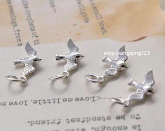 4 sterling silver tiny bird charms pendants YX1