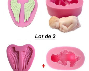 Set 2 molds silicone coated baby + Angel Wings
