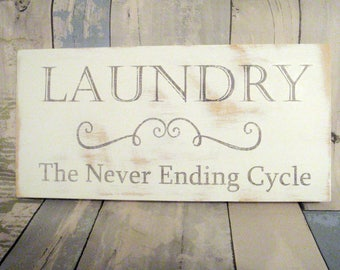 Laundry room sign -  Laundry room decor - Wooden laundry room sign - White laundry room sign -  Laundry sign - Housewarming gift