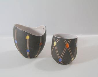 """Pair of small vases by Steuler, decor """"Konfetti""""  west german pottery, wgp, retro, vintage 4139 and 4045/1"""