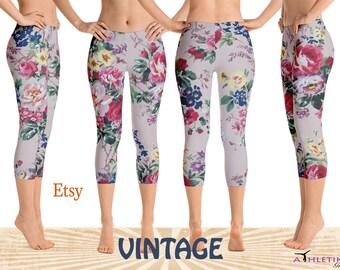 Capri Vintage Leggings Pants Floral Roses Pattern Retro Design Print Woman Flowers Fitness Gym Dance Workout Comfortable Unique Pretty Pink